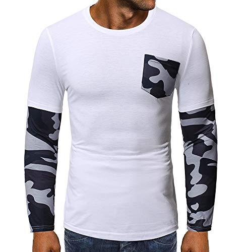 ZWLXY Herren Langarm T-Shirt T-Shirt Mit Rundhalsausschnitt Lässige Patchwork Slim Plissee Top,a,L