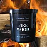 FIREWOOD - Authentic Wood Burning Fireplace Candle in Black Jar with Lid New 12 oz. Since 2012
