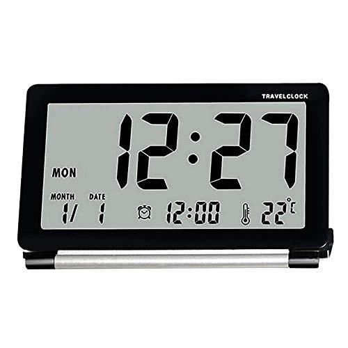Yxaomite Reisewecker LCD Digitalwecker Ultra-dünne Klapp LED Wecker Kompakter Elektronische Uhr Bedside Kleine Wecker Tischuhr mit Zeit, Temperatur und Datum Funktion (Rechteck)