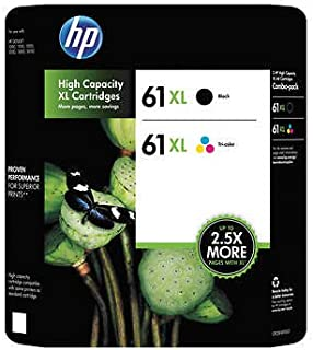 Genuine HP 61XL Black and Color Inkjet Cartridges in Retail Combo Pack