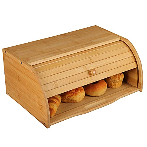 BTGGG Bamboo Bread Box With Rolling Lid, Roll-Top Bread Box Wooden...