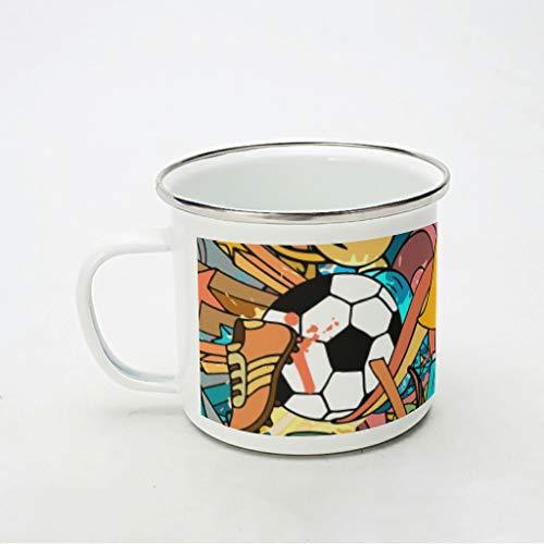 KittyliNO5 Taza esmaltada para deportes de fútbol y graffiti fútbol, resistente y ligera, para café, té o café, para camping y trekking, color blanco, 350 ml