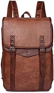 Mochila para portátil Vintage para Hombre Mochila de Cuero PU Impermeable Hombre Bolso para Hombre de Moda Bolsos de Viaje Casuales para Hombre - Lt Brown