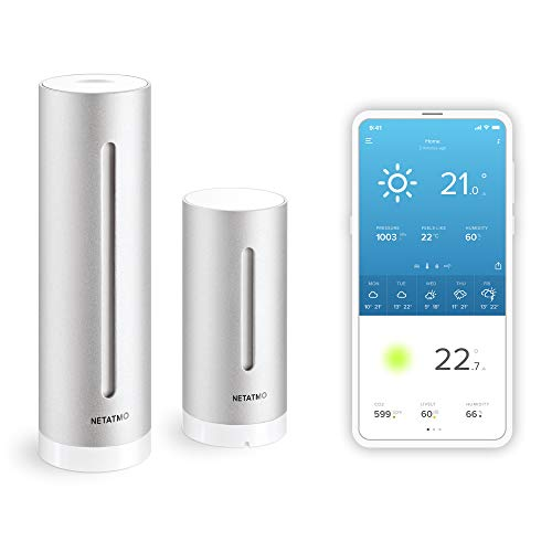 Netatmo Weather Station Indoor Outdoor with Wireless Outdoor Sensor - Compatible with Amazon Alexa & Apple HomeKit, NWS01-EU