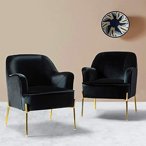 Modern Accent Chair Set of 2 for Vanity Bedroom Living Vanity with Gold Legs Upholstery Velvet Chair/Black