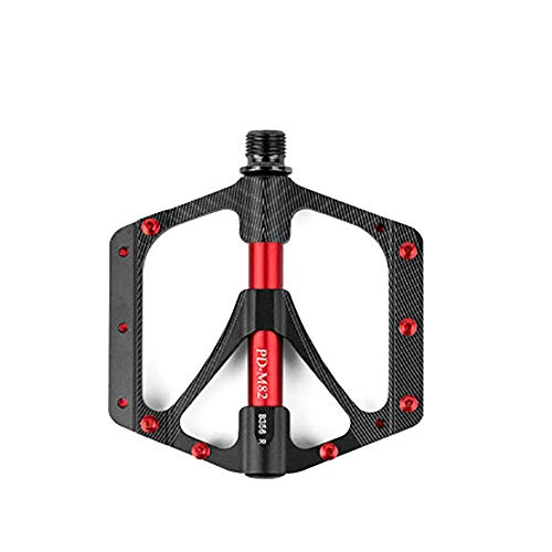 Dygzh Bike Pedals Light Weight Large Tread Surface Riding Pedal Mountain Bike Aluminum Alloy Bearing Foot Pedal for Mountain Road Bike (Color : Black, Size : One Size)