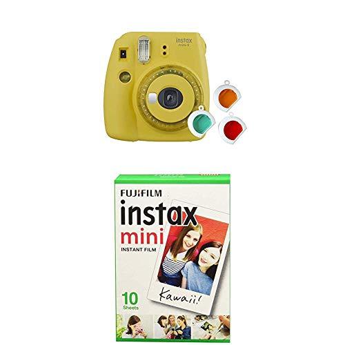 Fujifilm instax Mini 9 Kamera mit Farblinsen, gelb + Mini Instant Film, 1x 10 Blatt (10 Blatt), Weiß