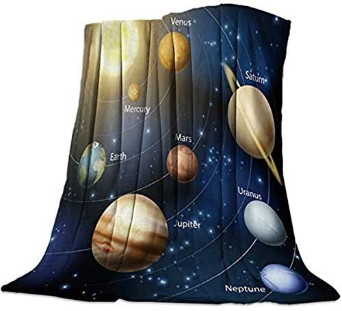 Manta polar de franela doble, sistema solar y órbitas del planeta. Mantas de cama cálidas y suaves, suaves y acogedoras. Manta de microfibra de peluche para sillón de salón, 50 x 80 pulgadas