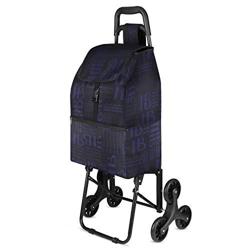 mfavour Einkaufstrolley Stabiler Einkaufswagen Treppensteiger Einkaufstrolleys mit 6 Rädern