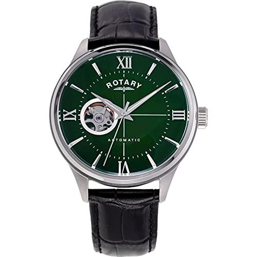Rotary Reloj automático para hombre de 42 mm, color verde con pantalla analógica, correa de piel negra GS00375/24.