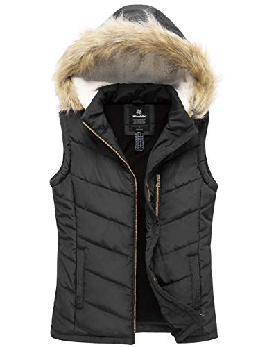 Wantdo Women's Insulated Thicken Vest Quilted Padding Puffer Hooded Vest Black M