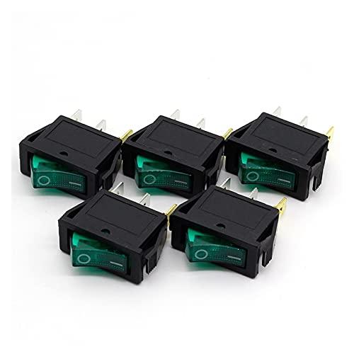 QHMDZ Interruptor basculante 5 unids/Lote Verde LED luz SPST 3PIN ON/Off G124 Boat Rocker Switch 15A / 250V 20A / 125V Car Dash Dash Tablero Camión RV ATV Inicio