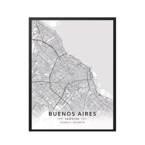 GUICAI Rosario Buenos Aires Argentina Mapa Cartel Pintura Arte Cartel impresión Lienzo decoración del hogar Imagen impresión de pared-50X70 cm sin Marco 1 Uds