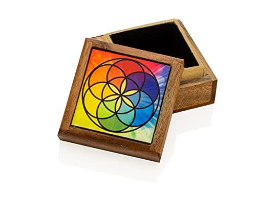 Caja de madera – Seed of Life – para joyas y pequeños objetos – Regalo ideal.