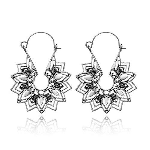 N/A Ethnische Blumen Golden Silber Hohl Hohl Mandala Anhänger Ohrringe Weiblich Tribal Geometric Geschenk Silber