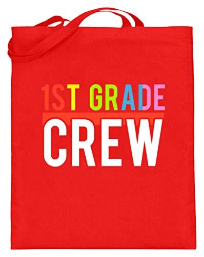 1st Grade Crew - Schüler, Schülerin, Student, Studentin, Lehrer, Bruder, Schwester, Freund - Jutebeutel (mit langen Henkeln) -38cm-42cm-Rubinrot