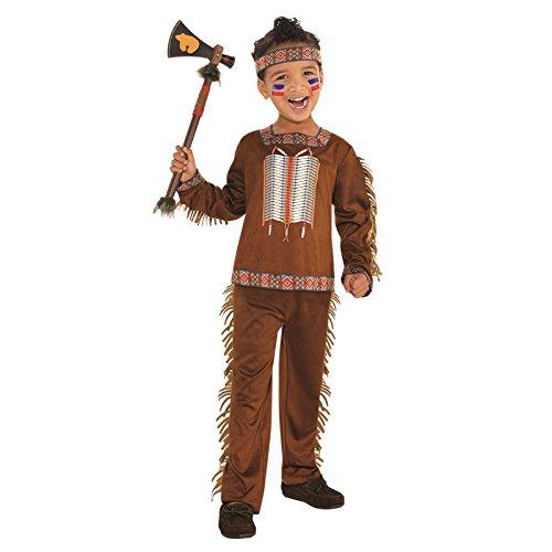 amscan 9902091 Jungen Indianer-Kostüm mit Tribal Stirnband, Alter 6-8 Jahre - 1 Stück