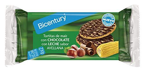 Bicentury - Nackis - Tortitas De Maíz con Chocolate con Leche Sabor Avellana - 4 paquetes de 2 tortitas