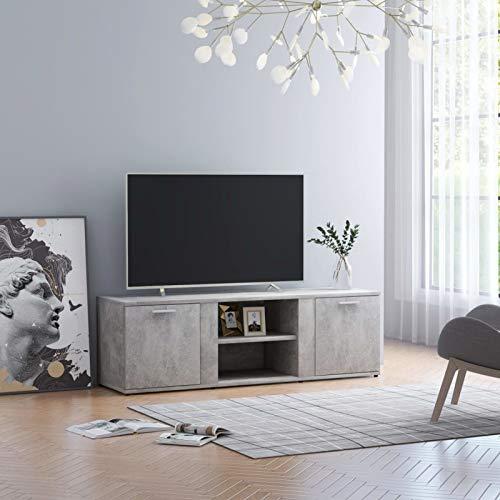 Susany Mueble para TV con 2 Puertas y 2 Compartimentos Abiertos Mesa de Salón Moderno Mesa Televisión de Aglomerado Gris Hormigón 120x34x37 cm