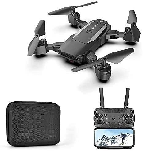 WASHULI Drone Pieghevole Long Endurance Quadcopter 4K HD. Aerial Fotografia Giocattolo Aeroplano a Distanza (Color : Balck)