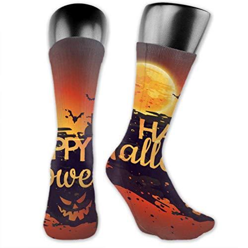XHYYY Männer und Frauen Socken sind bequem, leicht und verschwitzt, Männer Neuheit lustige Happy Halloween Poster mit Creepy Castle mittlere und lange Socken