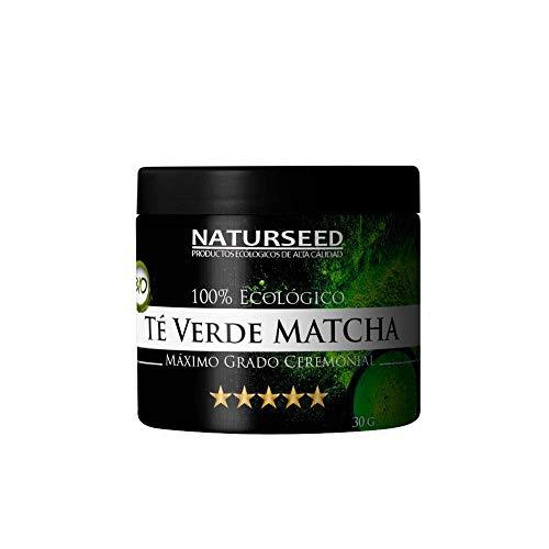 Naturseed - Té Matcha Organico Grado Ceremonial 5 estrellas Japones, 30 gr en polvo, Color Verde Intenso, Sabor Dulce, Premium Bio- Ecologico, Ceremonia, Para beber