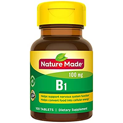 Nature Made Vitamin B1 100 mg Tablets, 100 Count for Metabolic Health† (Packaging May Vary)