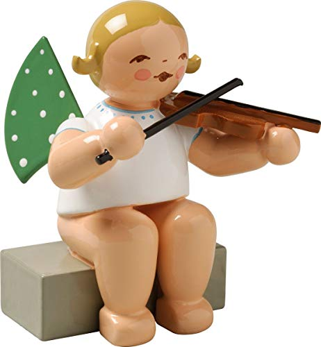 Wendt & Kühn engel met viool zittend maat 5-6 cm