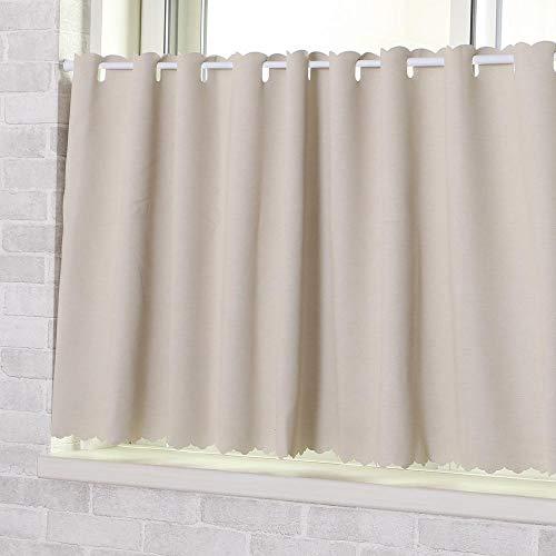 撥水・遮光カフェカーテン*パステルサイズ:巾135×丈60cm1枚入(ベージュ)