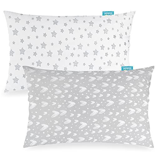 "Standard Pillowcase Set of 2 for 20"" X 26"" Pillow, 100% Jersey Cotton Pillowcase, Ultra Soft Gray Large Twin Pillowcase Envelope Style"