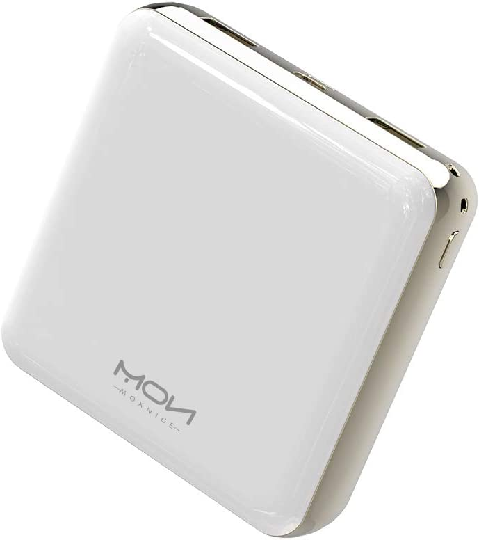 MOXNICE Bateria Externa Movil Power Bank 20000mAh, Compacta Powerbank con 2 Salidas para Teléfonos Inteligentes y Tabletas (Blanco)