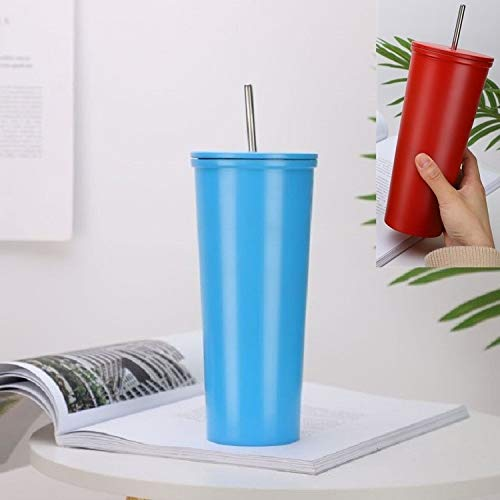 WXX Taza de café al Aire Libre de la Taza de café del Acero Inoxidable Taza de Deportes de Ocio, Capacidad: 500ml (Color : Blue)