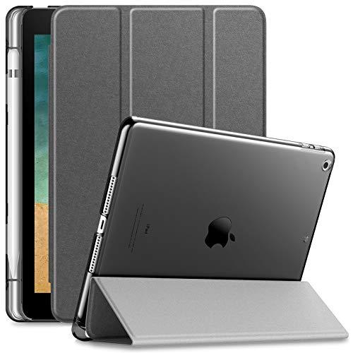 INFILAND iPad 9.7 2018 Hülle Case mit Pencil Halter, Superleicht Transluzent Smart Schutzhülle Case mit Auto Schlaf/Wach Funktion für iPad 9.7 2018 (Nicht enthalten Apple Pencil),Grau