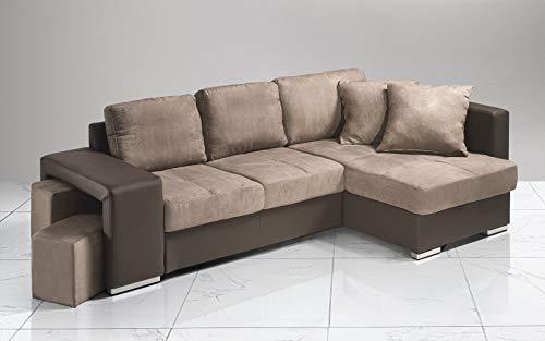 Dafne Italian Design Sofá cama esquinero de 2 plazas con chaise longue a la derecha. Polipiel marrón, tejido fango (267 x 158 x 88 cm)