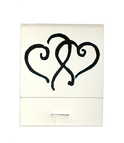 50 White Matches Printed Hearts in Black Matchbooks Wedding, Anniversary, Birthday, Party, Your Choice of Color of Print