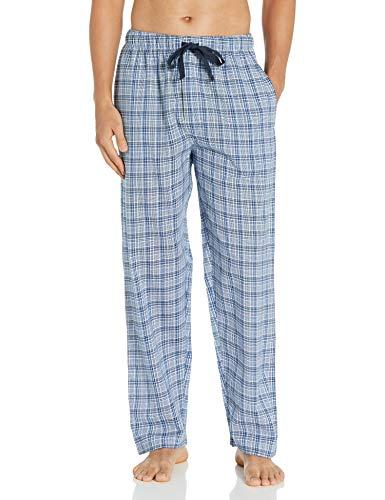 Chaps Men's Soft Touch Printed Flannel Pajama Pant, Blue Plaid, Medium