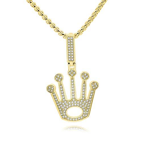 Modow 14 Karat Vergoldete Krone Rolex Hip Hop Halskette Anhänger, 24 Zoll Kette mit Eingelegtem AAA Zirkon,Twisted,Necklace