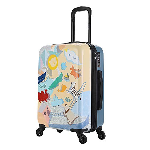 20'' Suitcase Trolley,Lighthouse Pattern Lightweight Durable Hardshell ABS Carry On Hand Cabin Luggage with TSA Lock/4 Mute Spinner Wheels/Dust Bag,for Travel/Business Trip