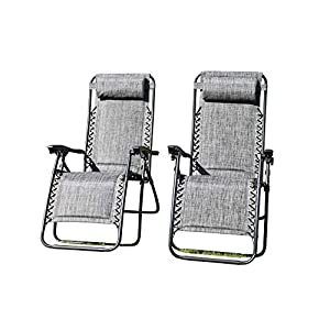 Garden Market Place Set of 2 Padded Zero Gravity Chairs - Grey