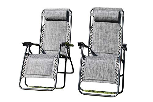 SET OF 2 Padded Garden Sun Lounger Relaxer Recliner Chairs in Grey Weatherproof Textoline