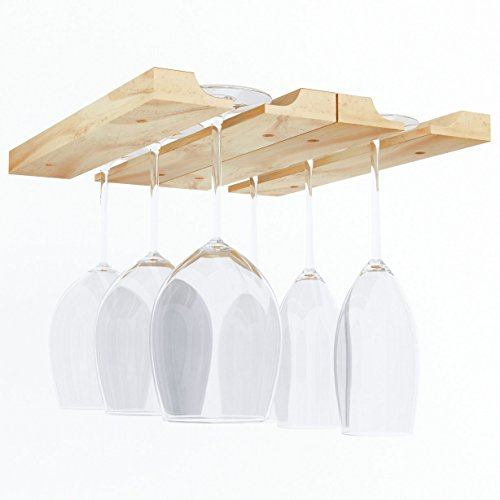 Rustic State Under Cabinet Wooden Hanging Wine Glass Holder by ArtifactDesign Adjustable 2-Sectional Stemware Storage Rack Natural