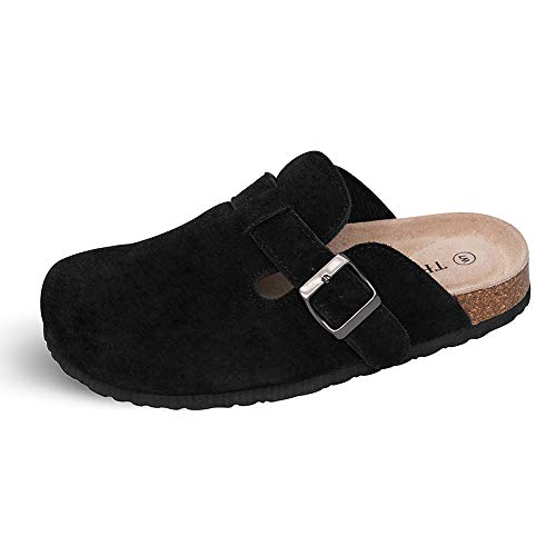 TF STAR Unisex Boston Soft Fußbett Clog Kuh Wildleder Clogs Kork Clogs Schuhe für Damen Herren, Schwarz (schwarz), 40/41 EU