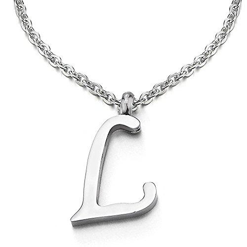 COOLSTEELANDBEYOND Name Initiale Alphabet Buchstaben A bis Z Anhänger Edelstah Halskette für Damen Herren mit 50cm Stahl Seil-Kette - L