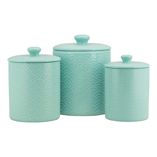 10 Strawberry Street Kitchen Canister Set, 3 Piece, Tide Blue