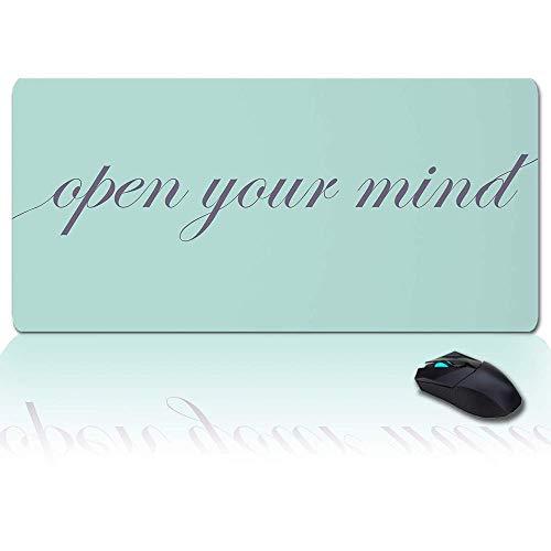 Alfombrilla de ratón grande para juegos, alfombrilla de escritorio completa con lemas, abre tu mente, base de goma antideslizante, alfombrilla ergonómica XXL para teclado para computadora portátil / c
