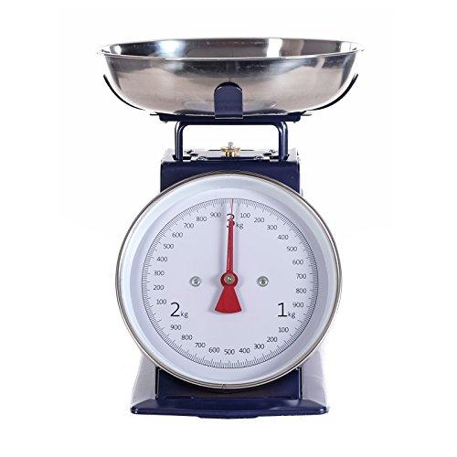Retro Design Metall KÜCHENWAAGE Scale   blau, bis 3 kg Haushaltswaage