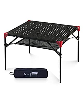iClimb Light Compact Connecting Camping Folding Table with Carry Bag, Three Size (Black - Hollow Out - L)