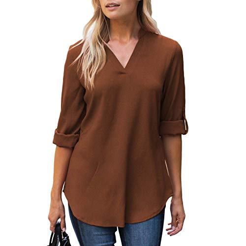 Amaryllis Apparel Women's Gingerbread Notch-Neck Roll Tab Blouse | 100% Polyester