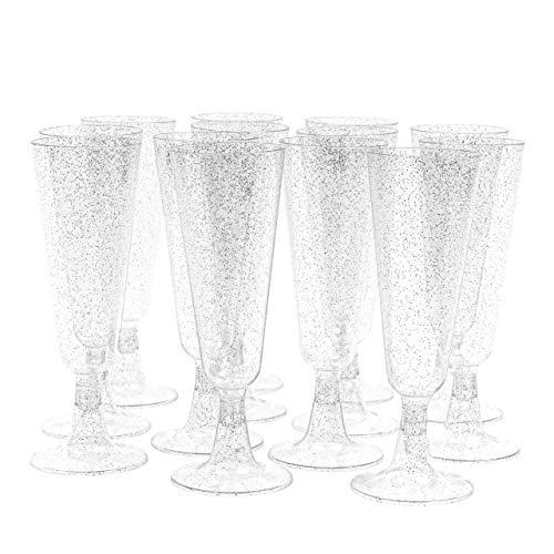 Matana 50 Copas de Champán de Plástico Duro con Brillos Plateados - 150ml
