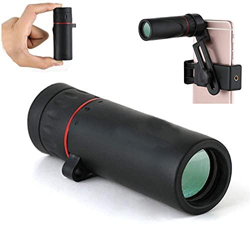 Telescopio Monocular para Smartphone Visin Nocturna 40x60 68g Binoculares Ultra Ligeros Compactos con Capacidad de Zoom Fuerte con Soporte para Telfono Mvil para Observacin de Aves